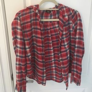 Very soft bdg blue white red size small flannel